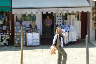 Modeling for the lovely lace shops in Burano