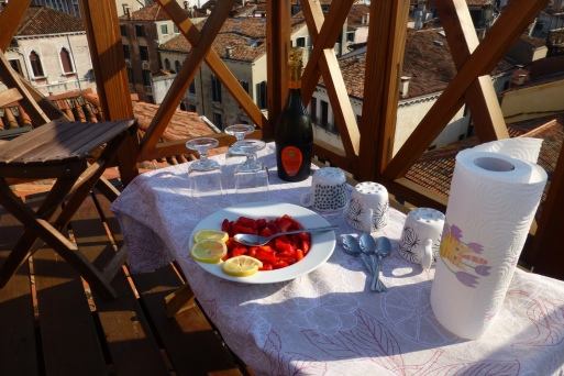 Strawberries and Prosecco on the terrace