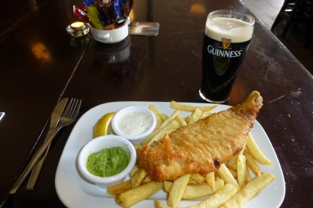 Cod and chips, mushy peas and Guinness - best Irish lunch!