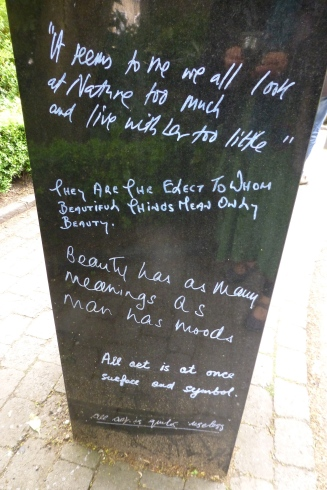Fun quotes next to Oscar in the park