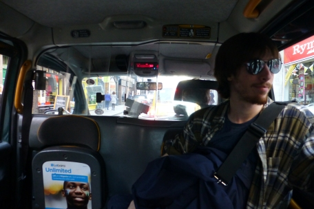 Heading back to the Mansions in a London cab
