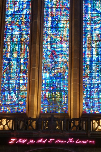 Stained Glass and neon at the Anglican Cathedral